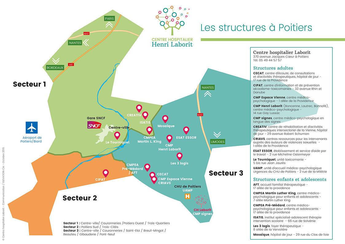 Plan des structures du CH Laborit Poitiers