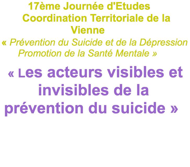 17eme journée d'études - prévention du suicide 2018