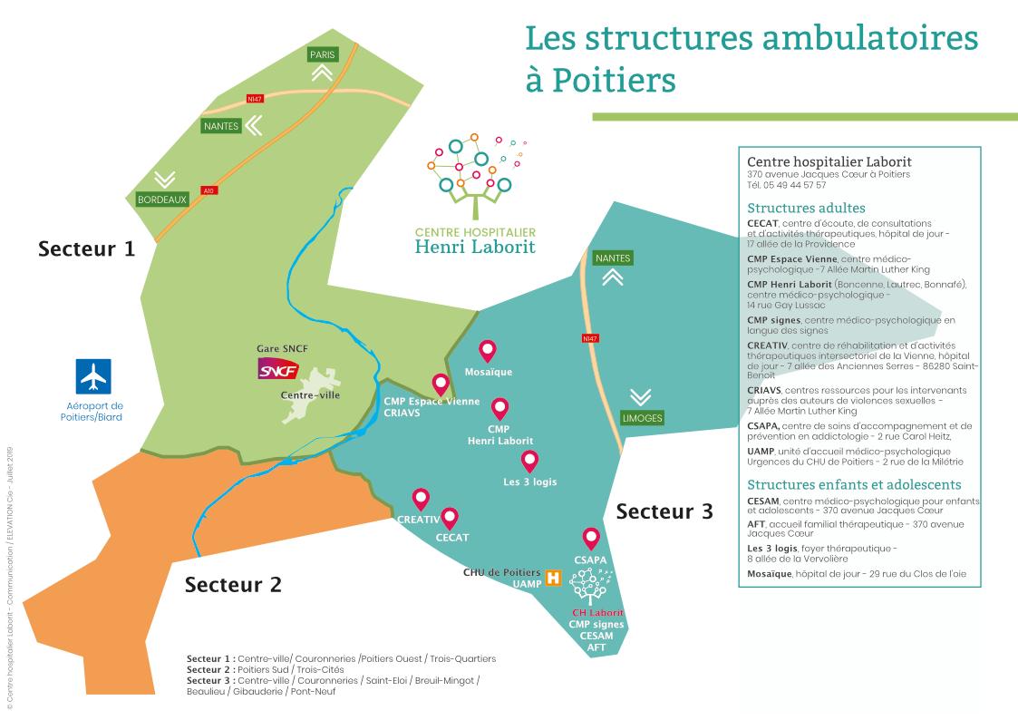 Plan des structures du CH Laborit Poitiers-2020